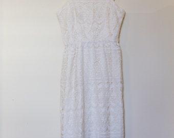 1970's women's vintage dress / lace / small / cream / bohemian