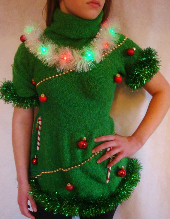 Christmas Tree Ugly Christmas Sweater Dress by TaborsTreasures
