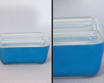 Blue PYREX Fridge Container + Lid Glass 1960s Refrigerator Keeper