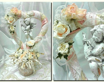 Romantic, Heart, Angel, French Chic, Repurposed Terra Cotta Pot,Heart and Cherub, White and Peach Roses, Music Paper