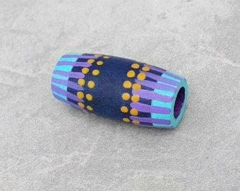 Dread Bead - Purple Dreadlock Bead - Wood Hand Painted Hair Bead - Purple Tribal Dread Bead
