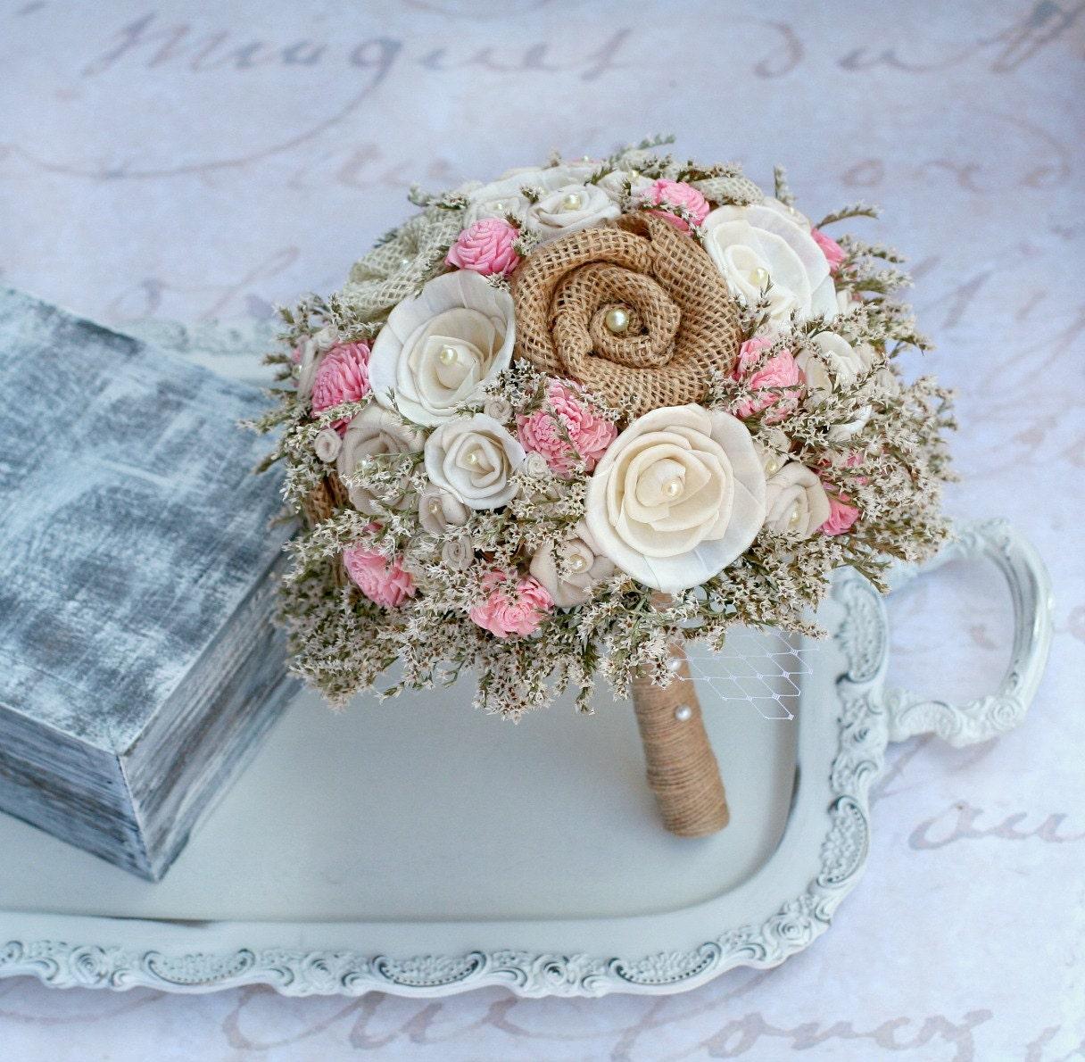 Pink Rustic Wedding Bouquet // Pink Bridal Bouquet Burlap