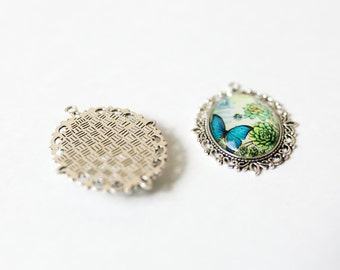 2 Butterfly Pendants - Antique Silver - Dark Cyan - Glass Cabochons - LARGE - 61x47mm - Ships IMMEDIATELY from California - SC1311a