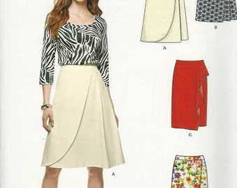 New Look S0715 Set of wrap/mock wrap skirts curved flounce uneven edge Size 10-12-14-16-18-20-22 uncut