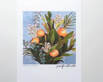 CLEARANCE Botanical herbs green kitchen art print wall art home decor  - Greens and Evergreens