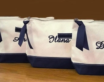 Set of 3 Personalized Cosmetic Bags, Natural Canvas with Black Trim, Monogram