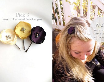 PICK 3 Fall Bridal Flower Hair Pins Floral Wedding, Small Silk Flower Hair Clip Simple Bridesmaid hairpiece, Autumn Cream Plum Flower girl