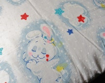 Handmade Bunny Angel Pillowcase, Child's Vintage Standard Size Pillowcase, Kid's Rabbit Pillowcase with Moons and Stars