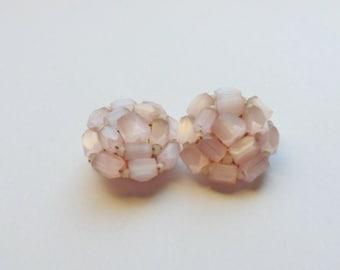 Rose Quartz Clip-on Cluster Earrings, Hand Cut Pink Faceted Quartz Earrings