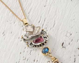 Moonstone Pendant, Fine Gold Jewelry, Rainbow Moonstone pendant, Gold Victorian Jewelry, Gold Necklace, 22k Gold Necklace