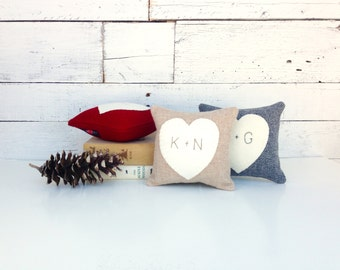 Personalized Heart Pillow, Rustic Heart Pillow, Rustic Home Decor, Anniversary Gift, Small Pillow, Gift for Her, 6x6 Square Pillow