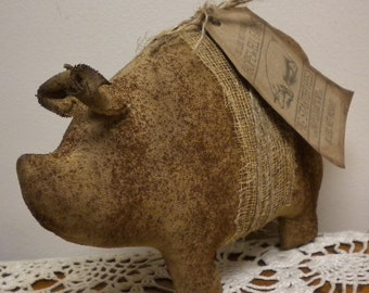 Primitive Pig, Stained Fabric Pig Made To Order, Grungy Pig Shelf Sitter