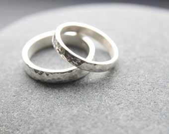 3mm + 4mm hammered wedding rings in Argentium silver - made to order