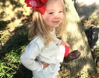 Red Monogrammed Bow in Large with Script Monogram, Big Red Christmas Bow, Holiday Gift for Girl, Big Red Bow, Southern Boutique Bow, Big Bow