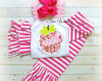 Strawberry Applique shirt or tank- You're Berry Sweet tank- Summer Girl Shirt- Birthday Girl- Strawberry Clothing Set- Monogram Girl Shirt