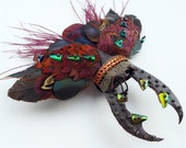 Stag beetle corsage, faux taxidermy, feather work beetle, wearable art, unique and unusual hair grip, corsage, brooch, home decoration
