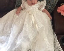 Beaded Alencon Lace Christening Gown, Baptism Gown