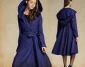 Cashmere Coat Jacket in Blue, Navy Wool Coat, Hooded Coat, Swing Coat Winter Coat- Wool Blazer, Flared Coat, Long Coat, plus size clothing
