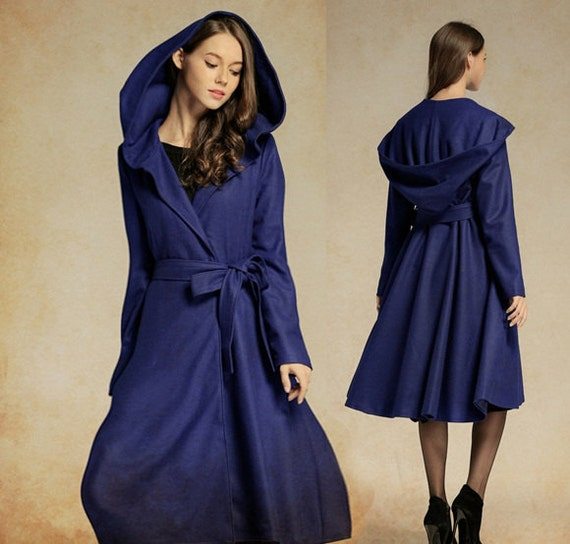 Cashmere Coat Jacket in Blue Navy Wool Coat Hooded by camelliatune