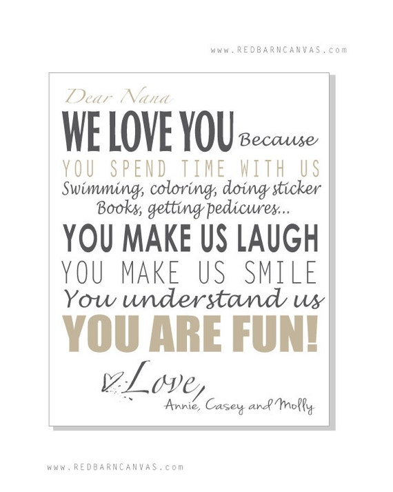 Personalized Letter on Canvas for Grandparents Custom Gift
