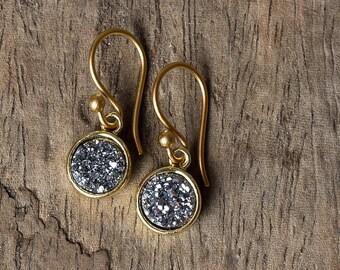 Druzy Earrings, Gold Druzy Earrings, Titanium Druzy Earrings, Dangle Earrings, Drop Earrings, Drusy Earrings, Silver Druzy Earrings, Druzy