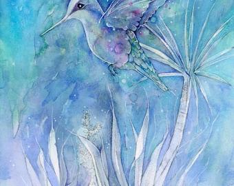PRINT 5 x 7 Dance Among The Flowers Hummingbird decor bird art
