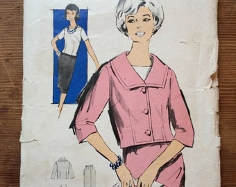 Advance American Pattern P305 / 2857 Size 14 Bust 34 vintage 60s 2 piece skirt suit and blouse