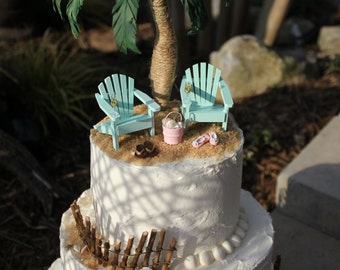 Miniature HANDCRAFTED PALM TREE for your Beach Scene or Wedding Cake Topper - by Landscapes In Miniature