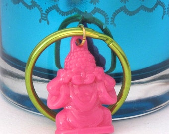 Hot Pink Buddha Keychain, Buddhist Keychain, Yoga Keychain, Yoga Gift, Buddhist Gift, Stocking Stuffer, Hot Pink and Lime Green