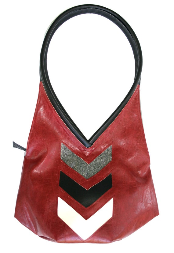 Brick red, chevron, distressed vinyl, chevron, sparkle vinyl, tear drop, vegan leather, shoulder bag