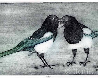 Two magpies original collagraph hand pulled limited edition print bird art