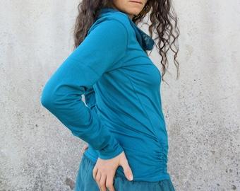 Teal blue ~ Cowl neck ~ Shirt ~ Lycra ~ Long sleeve ~ Top