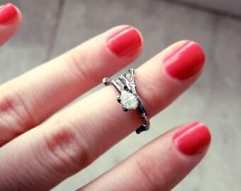 Raw diamond ring, Twig ring, twig diamond ring, engagement ring, elf ring, elvish ring, uncut diamond ring, promise ring, rough diamond ring