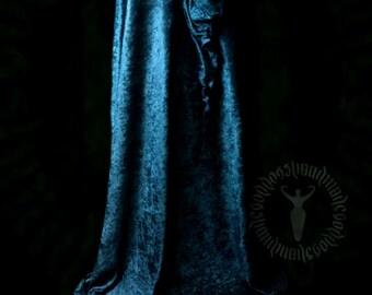 Velvet Velour Cloak with satin lined pixie hood, summer weight, cape, pagan, elven, faerie
