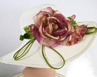 Ivory Kentucky Derby WIDE BRIM Hat, Panama Straw Women Hat ,Pink and Green Handmade Flower