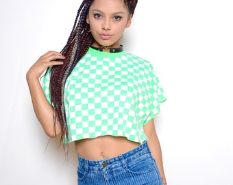 Vintage 80's Green Checkered Print Crop Top Sz L