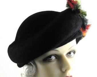 Womens Hat Black Velour Fur Felt Red Feather Handmade Hat Veil Bride Church Ascot Derby Races Cloche Art Deco Custom Made for Each Client