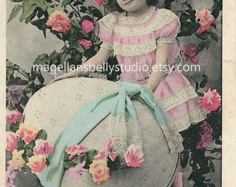 Easter Digital Download 1910's French RPPC  Lovely Girl With Giant Easter Egg  and Flowers Joyeuses Paques