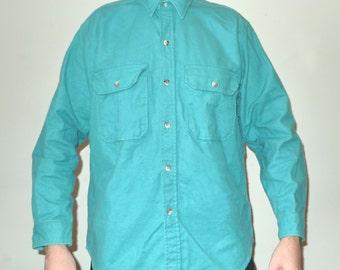 Vintage Cabelas Turquoise Flannel Shirt