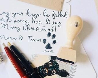 Pet Paw Print Stamp, Custom Paw Stamp, Pet Christmas Rubber Stamp, Christmas Stamp, Dog Paw Stamp, Cat Paw Stamp, Personalized Pet Stamp