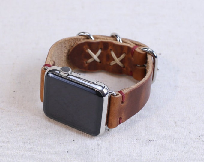 Rustic Apple Watch Band: Horween Leather Strap in English Tan Dublin, Cross Stitch Detail, Apple Watch Adapters, Loop Hardware