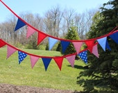 SALE 4th of July Fabric Pennant Banner. Fourth of July Bunting. Patriotic Garland. Red White and Blue. USA Banner. Independence Day.