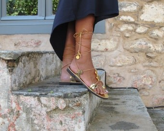 Greek Lace up sandals with toe ring,. Custom color and  embellishments. HERA 05 NEW