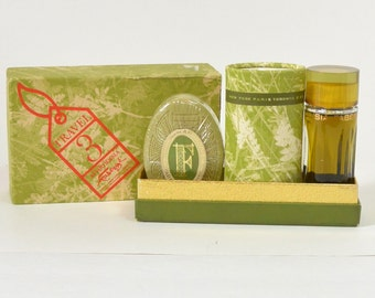 APHRODISIA Faberge Vintage 1960s 1970s Cologne Perfume Bath Powder Soap SET New in Original BOX