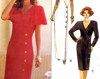 Butterick 5105 Retro 1990s Rimini Designer Mock Wrap Dress Sewing Pattern 12-16
