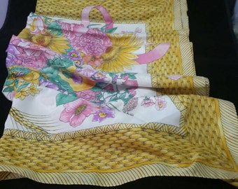 """Large 30-1/2"""" COLORFUL Scarf with Springtime Colors Sunflowers Bouquet and Ribbon Basket Weave"""