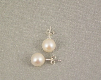 Freshwater Pearl Stud,  Large Round AAAA 8 or 9mm White Freshwater Pearl Stud Earrings, Hypoallergenic Sterling Silver