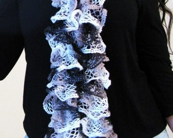 BLACK WHITE SCARF, Ruffle Scarf, Winter Scarf, Knit Scarf, Winter Accessory