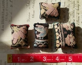 Lot 4 - Four (4) Vintage Upcycled Hmong Hilltribe Pockets, Hand Embroidered Pillows