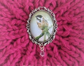 Vintage Style Bird Brooch Reed Bunting Brooch Bird and Crystal Brooch Winter Jewellery Woodland Bird Garden Bird Amanda Drage Art